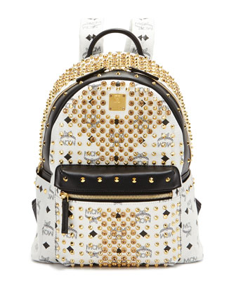 Diamond Visetos Small Backpack, White