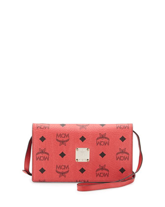 Color Visetos Crossbody Wallet, Red