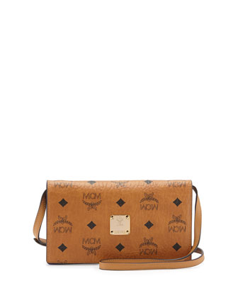 Color Visetos Crossbody Wallet, Cognac