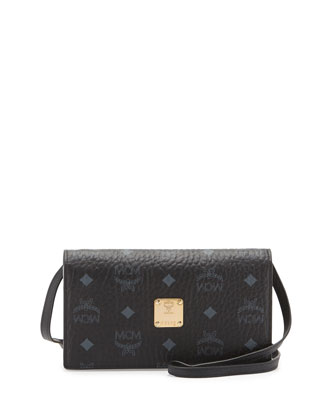 Color Visetos Crossbody Wallet, Black