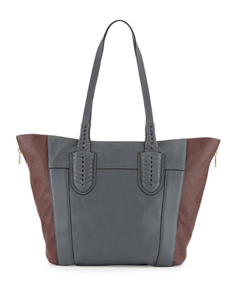 Kristen Pebbled Leather Tote Bag, Slate/Multi