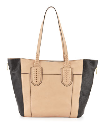 Kristen Pebbled Leather Tote Bag, Almond/Multi
