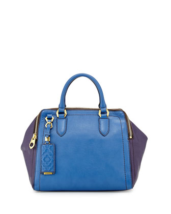 Justine Leather Top-Zip Satchel Bag, Royal Multi