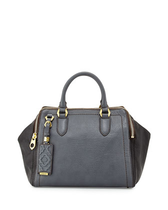 Justine Leather Top-Zip Satchel Bag, Slate Multi