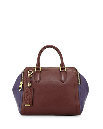 Justine Leather Top-Zip Satchel Bag, Espresso Multi