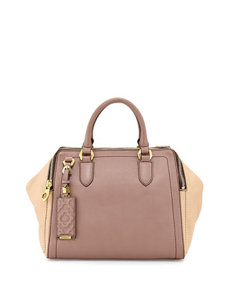 Justine Leather Top-Zip Satchel Bag, Mushroom Multi