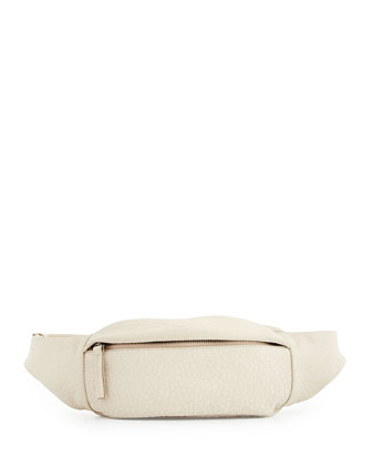 Pebbled Leather Belt Bag, Off White