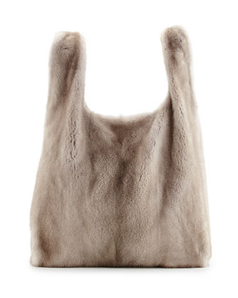 Mink Fur Satchel with Pull-Through Straps, Brown