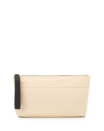 Pebbled Leather Convertible Pochette, Off White