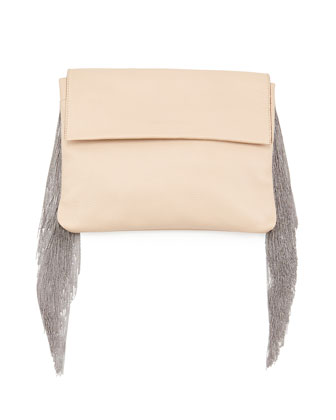Monili Small Fringe Clutch Bag, Nude