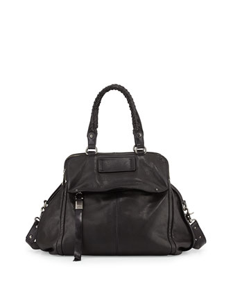 Angela Leather Satchel Bag, Black