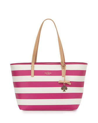 hawthorne lane ryan striped tote bag, sweetheart pink/cream