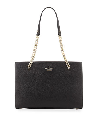 emerson place metallic shimmer shoulder bag, black