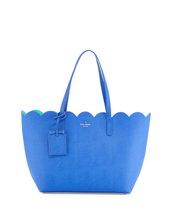 lily avenue carrigan saffiano scalloped tote bag, island deep