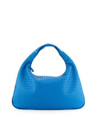 Intrecciato Large Hobo Bag, Indigo