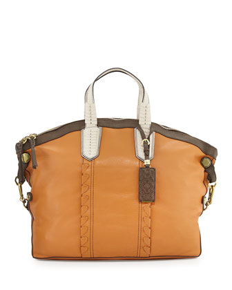 Cassie Colorblock Convertible Tote Bag, Camel/Multi