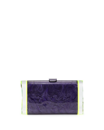 Lara Backlit Acrylic Ice Clutch Bag, Amethyst/Green