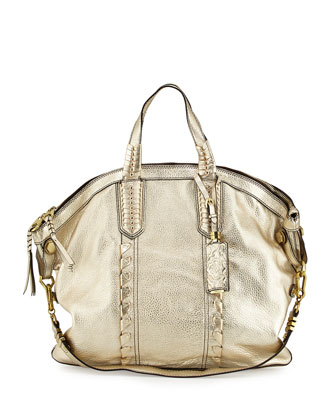 Cassie Convertible Leather Tote Bag, Platinum