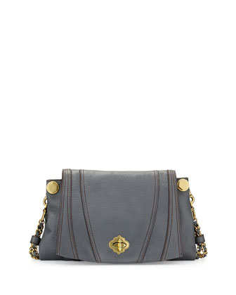 Leah Flap Leather Crossbody Bag, Slate