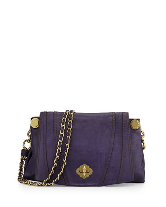 Leah Flap Leather Crossbody Bag, Eggplant