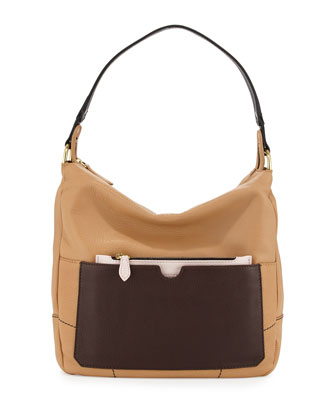 Adele Pebbled Leather Shoulder Bag, Sand Multi