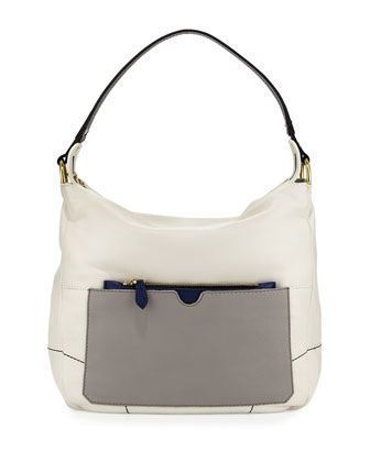 Adele Colorblock Shoulder Bag, White/Multi
