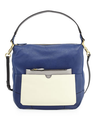 Adele Colorblock Shoulder Bag, Indigo/Multi