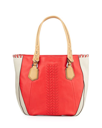 Lyssie Colorblock Whipstitched Tote Bag, Berry/Multi