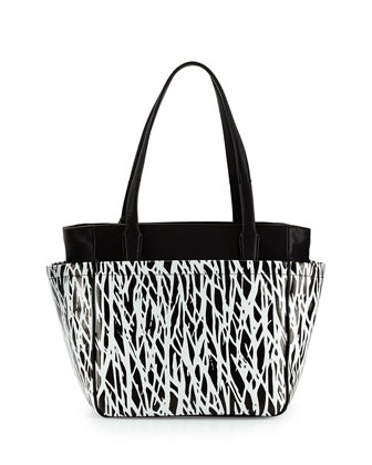 On The Go Printed Tote Bag, Black/White