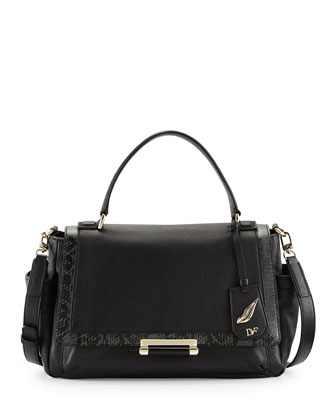 440 Courier Leather Satchel Bag, Black