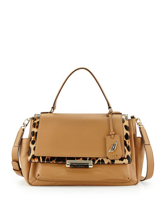 440 Courier Leather Satchel Bag, Sandalwood/Leopard