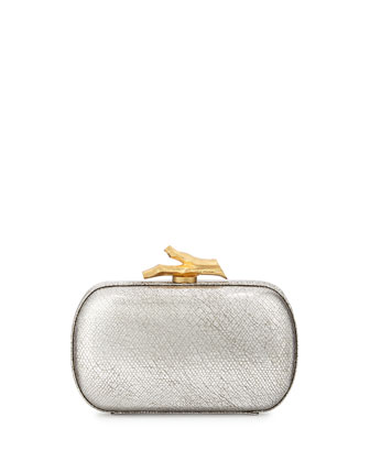 Lytton Metallic Leather Minaudiere, Silver