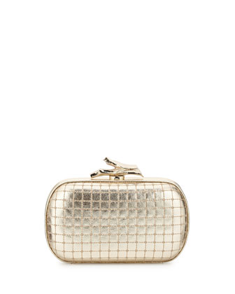 Lytton Quilted Metallic Minaudiere, Light Gold