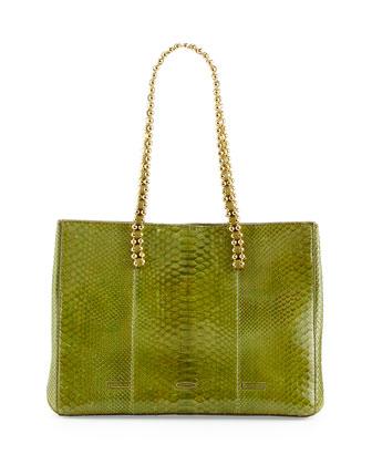 Pandora Python Tote Bag, Green