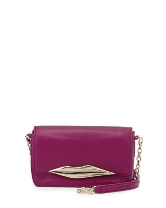 Flirty Mini Leather Crossbody Bag, Beet