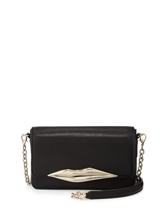 Flirty Mini Leather Crossbody Bag, Black