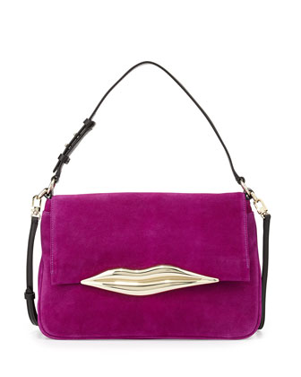 Flirty Suede Shoulder Bag, Beet