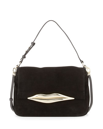 Flirty Suede Shoulder Bag, Black