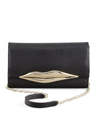Flirty Leather Clutch Bag, Black
