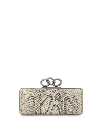 Sutra Snake-Embossed Clutch Bag, Natural