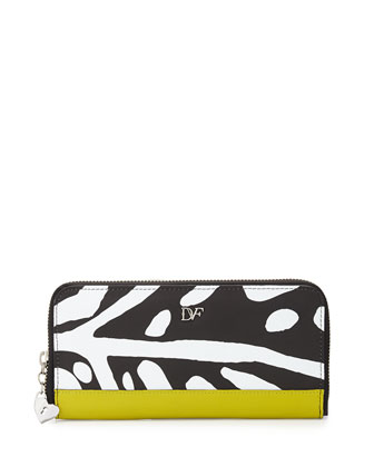 Printed Leather Continental Zip Wallet