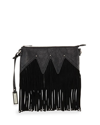 Lover Fringed Clutch Bag, Black