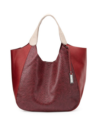 Masterpiece Faux-Leather Tote, Cherry