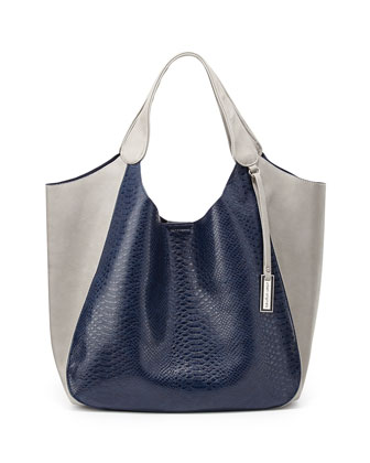 Masterpiece Faux-Leather Tote, Navy/Gray