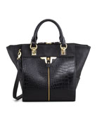 Alexa Croc-Embossed Tote Bag, Black