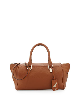 Sutra Small Leather Duffle Bag, Saddle