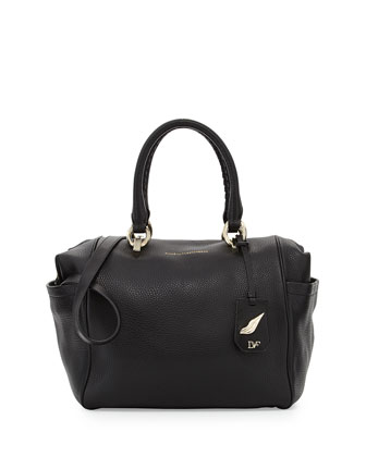 Sutra Bold Leather Duffle Bag, Black