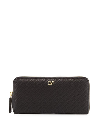 Chain-Link Quilted Continental Zip Wallet, Black