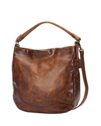 Melissa Tumbled Leather Hobo Bag, Brown