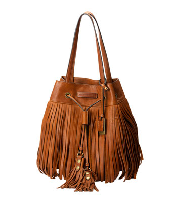 Heidi Fringe Drawstring Shoulder Bag, Whiskey